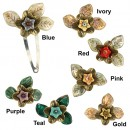 Amarië Brass Flower Hair Clips - SET OF 2